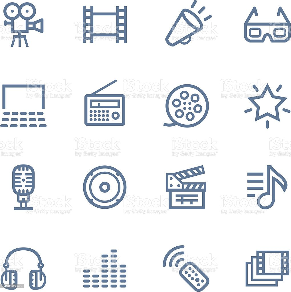 Media line icons vector art illustration