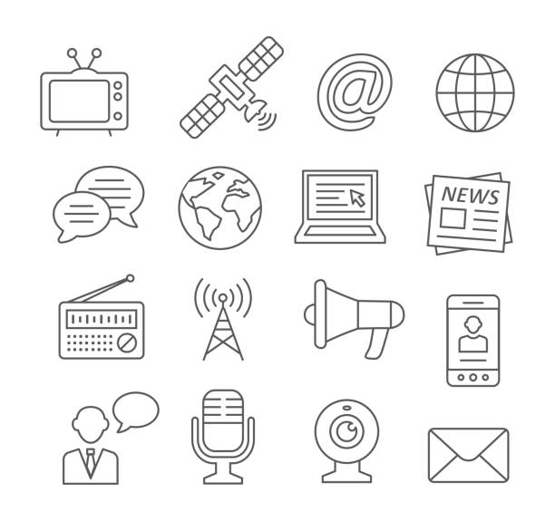 Media line icons Media line icons on white broadcasting stock illustrations