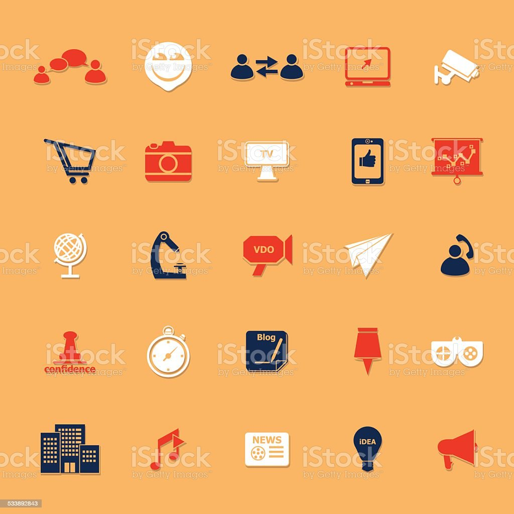 Media marketing classic color icons with shadow vector art illustration