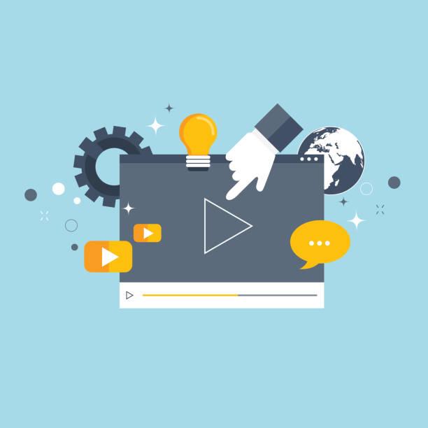 stockillustraties, clipart, cartoons en iconen met media marketingconcept. platte vectorillustratie. - youtube