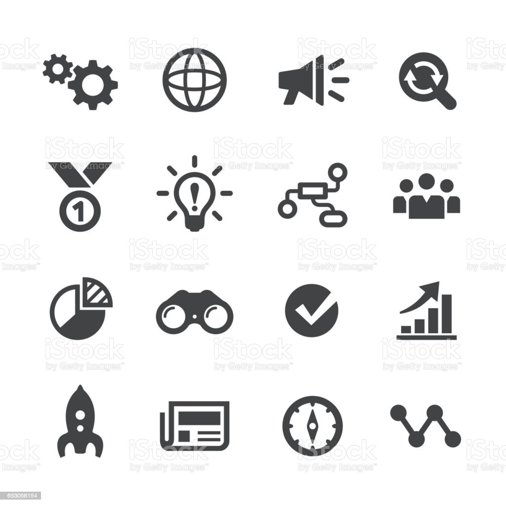 Media Marketing Icons Set - Acme Series vector art illustration