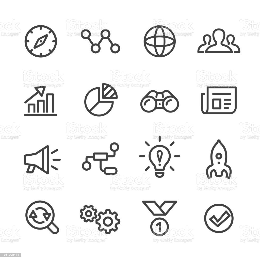 Media Marketing Icons Set - Line Series vector art illustration