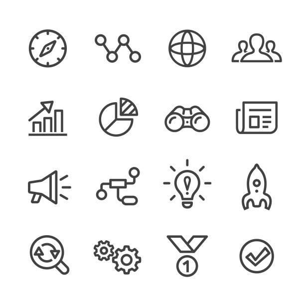 media marketing icons set - line serie - megaphone stock-grafiken, -clipart, -cartoons und -symbole