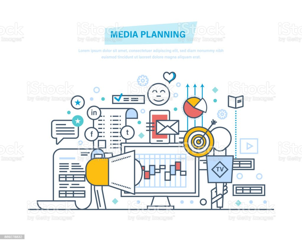 Media planning, digital marketing, promotion vector art illustration