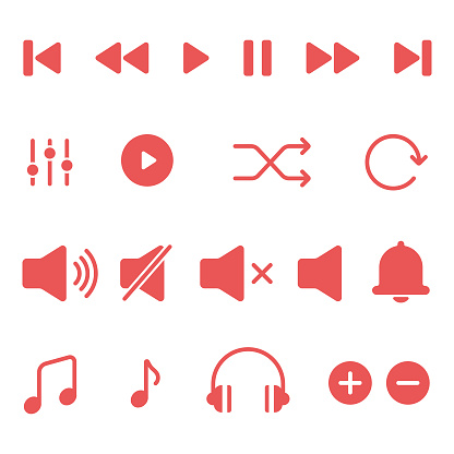 Media Player and Music Icon Set Vector Design.