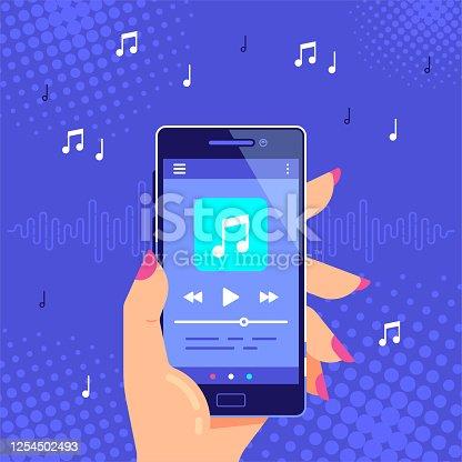 istock Media player application banner design. Flat style vector illustration. 1254502493