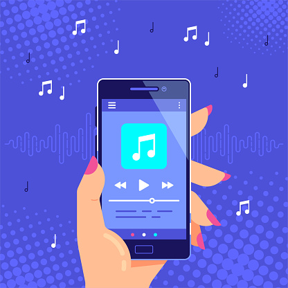 Hand holding modern phone playing audio or radio. Smartphone music player user interface concept. Media player app banner design. Flat style vector illustration.