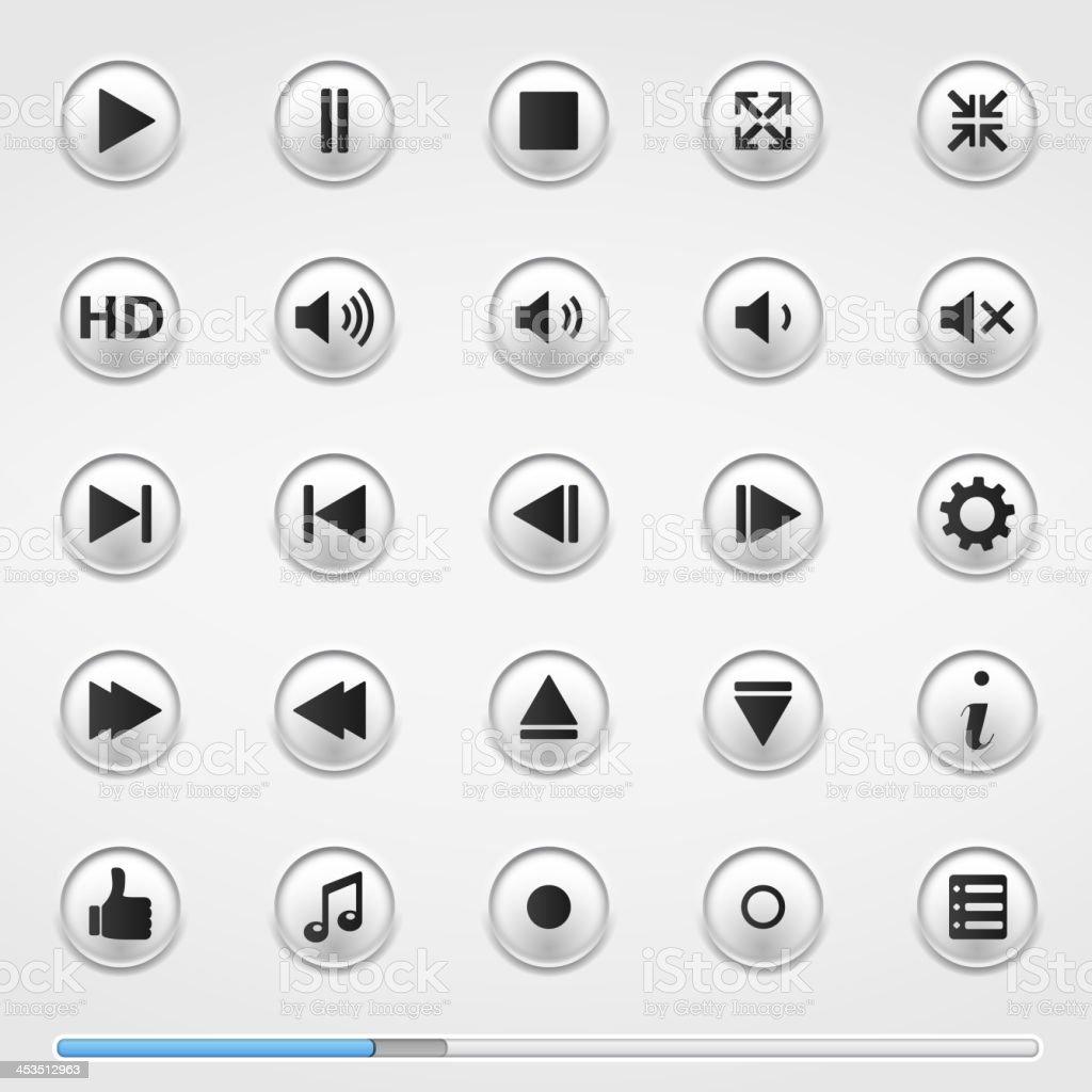 Media Player Buttons vector art illustration