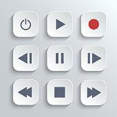 Media player control button ui icon set