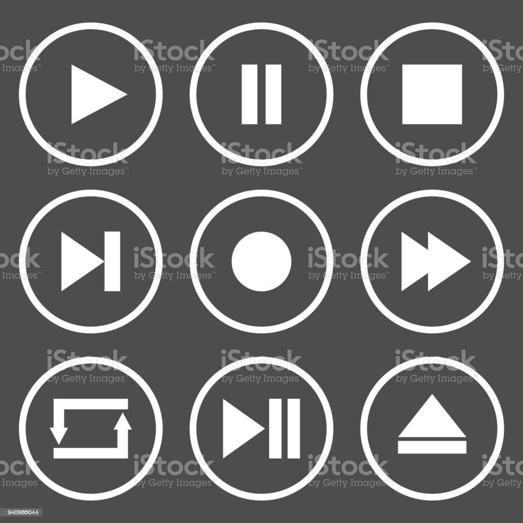 Media player control buttons. Play, pause, stop, record, forward, rewind, previous, next, eject, repeat  icon. Vector
