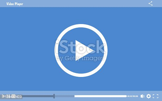 Media Player Design. Modern video player design template for web and mobile apps flat style. Vector illustration