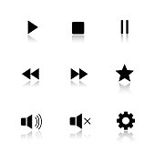 Media player drop shadow buttons set