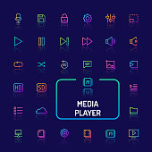 Simple white line button isolated over black background for media player app. Vector signs and symbols collections for website and app app..