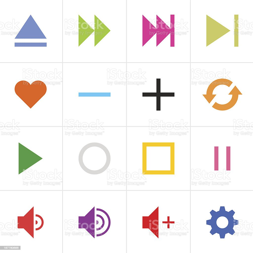 Media player icon colored sign web button simple pictogram royalty-free stock vector art