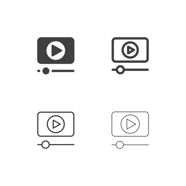 stockillustraties, clipart, cartoons en iconen met media player iconen - multi-serie - camera
