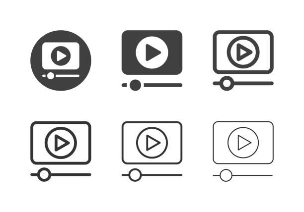 Media Player Icons - Multi Series vector art illustration