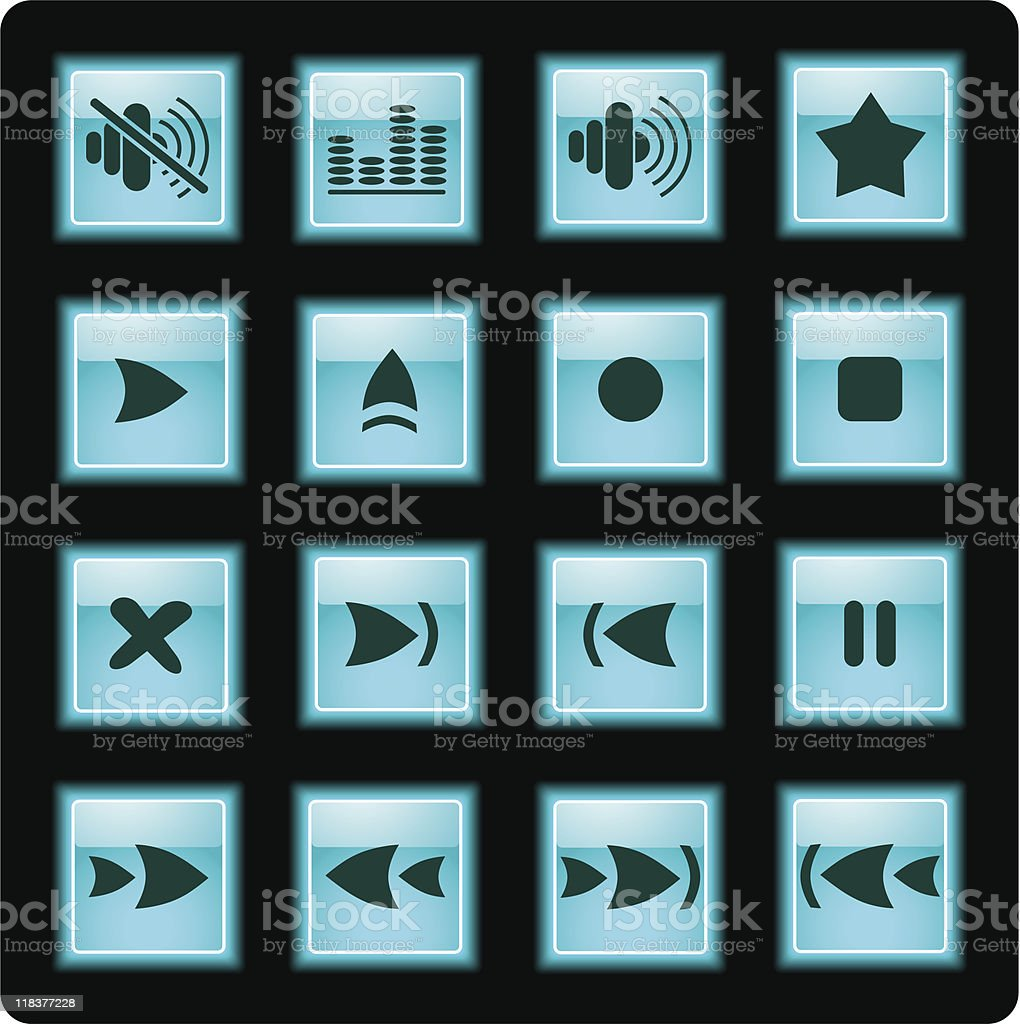 Media player icons royalty-free stock vector art