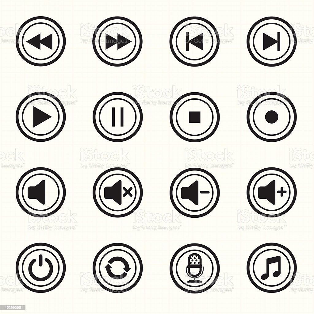 Media player icons vector royalty-free stock vector art
