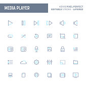 Media Player Minimal Vector Button Set (EPS 10)