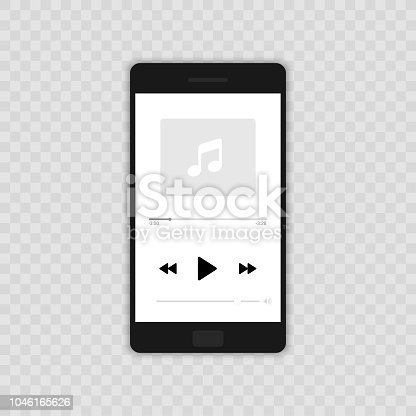 Media player. Mobile music player vector icon illustration flat design. Isolated on transparent background