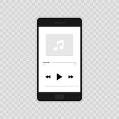 Media player. Mobile music player vector icon illustration flat design. Isolated on transparent background.