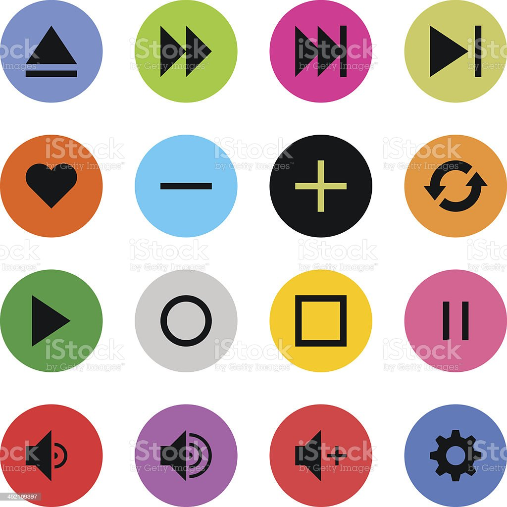 Media player sign color circle button icon flat plain simple royalty-free media player sign color circle button icon flat plain simple stock vector art & more images of application form