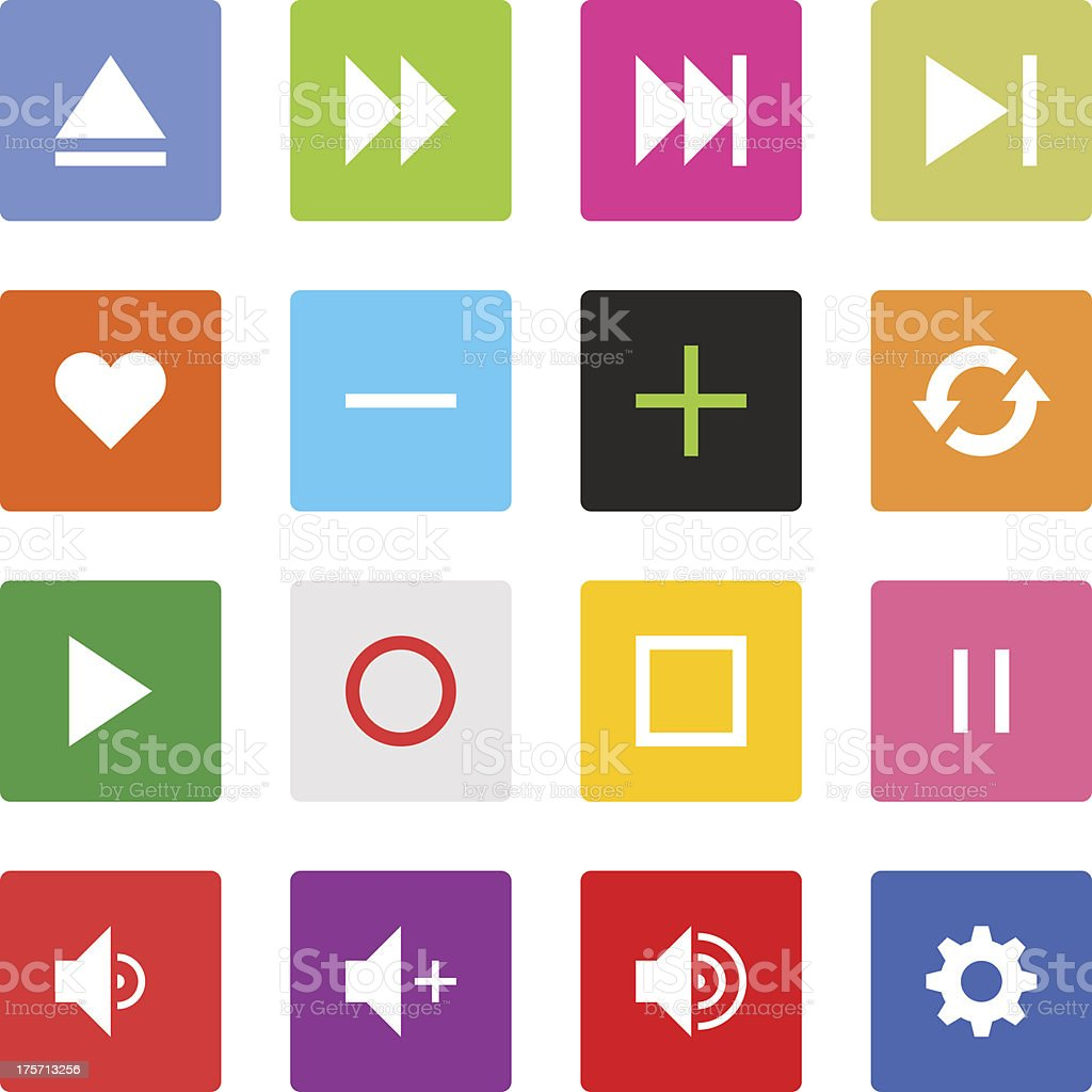 Media player sign color square button flat plain simple icon royalty-free stock vector art