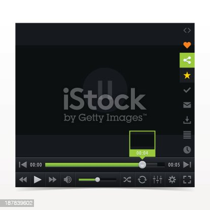 Black media player with video loading bar. Contemporary classic  dark style skin. UI user interface control buttons.