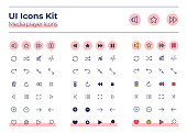 Media player UI icons kit. Audio settings thin line, glyph and color vector symbols set. Play and stop sound. Multimedia mobile app buttons in pink circles pack. Web design elements collection