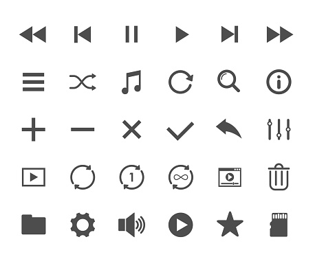 Media player web icons. Ui elements. Media player vector icons for web, mobile and ui design