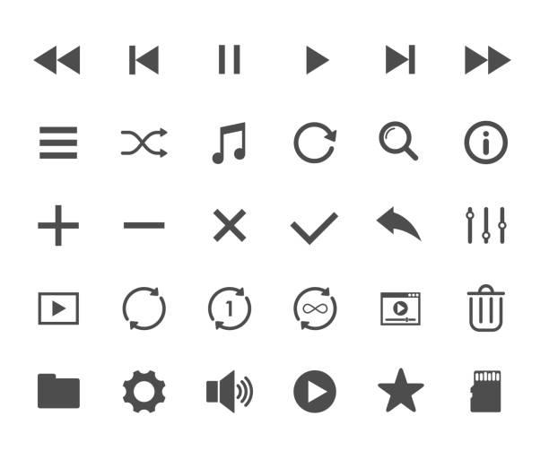 illustrazioni stock, clip art, cartoni animati e icone di tendenza di icone web di media player. elementi dell'interfaccia utente. icone vettoriali del lettore multimediale per la progettazione web, mobile e dell'interfaccia utente - video call