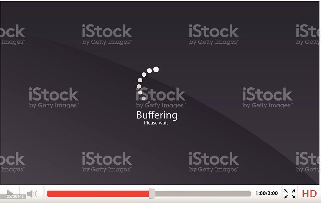 Media player with loading/buffering icon vector illustration vector art illustration