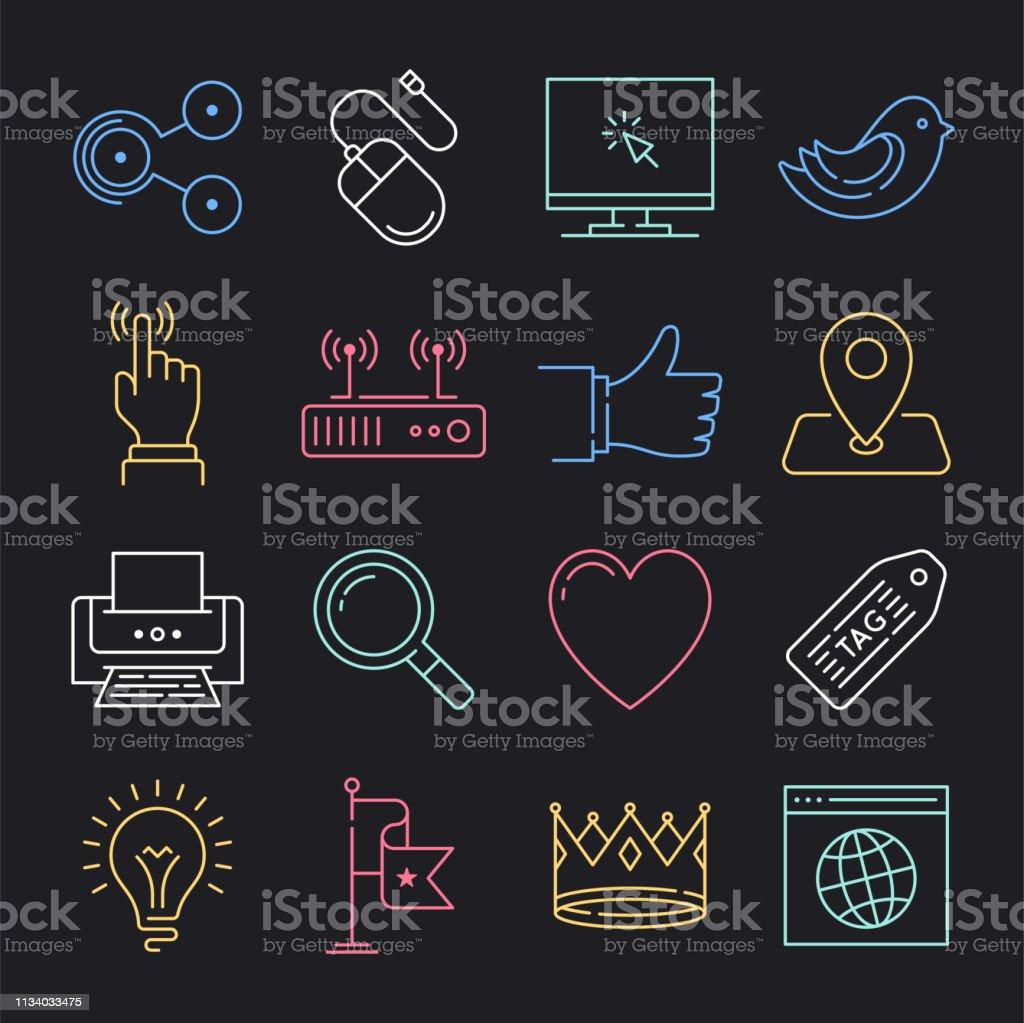Modern media, society, world neon style concept outline symbols. Line...