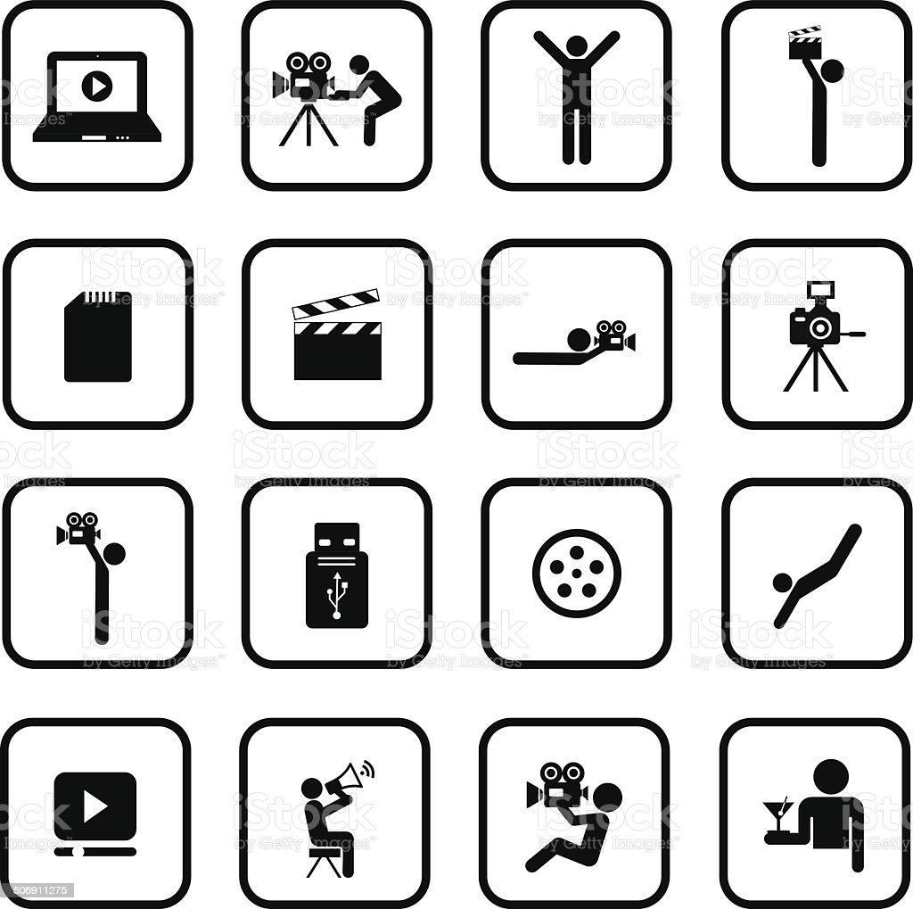 media symbol set vector art illustration