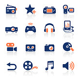 An illustration of media two color icons set for your web page, presentation, apps and design products. Vector format can be fully scalable & editable.