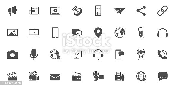 mass media vector icons large set isolated on white background. media business concept. media flat icons for web and ui design.