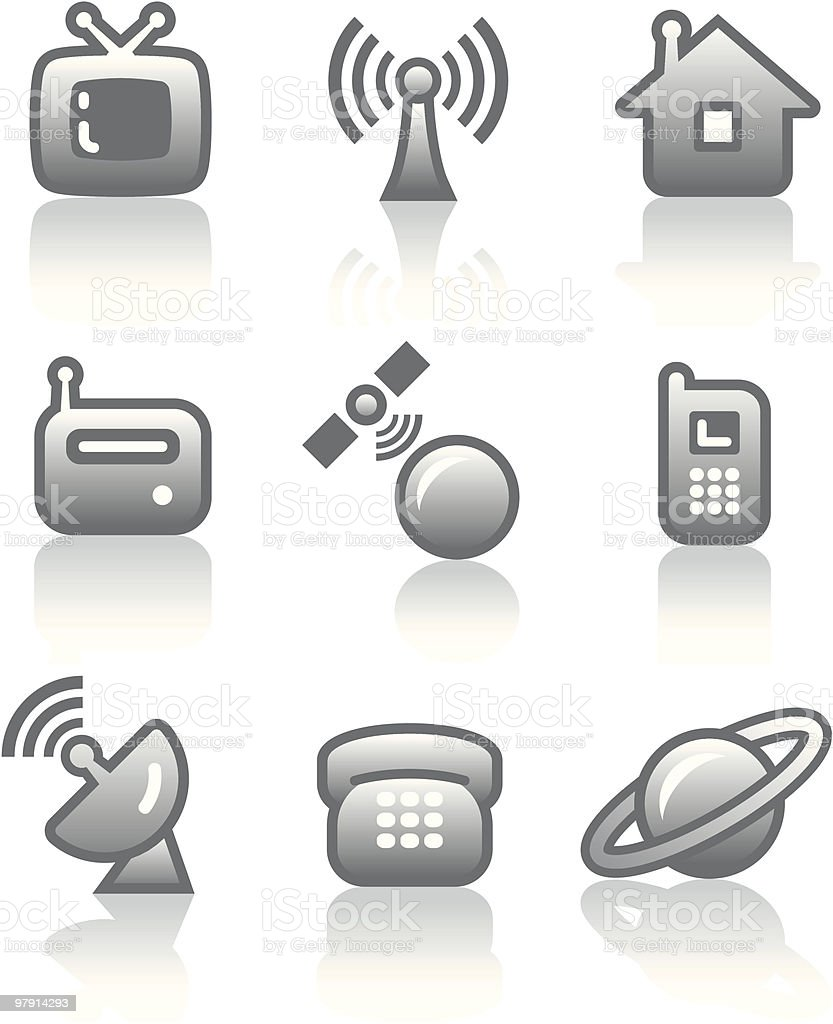 Media - Vector Icons Set royalty-free media vector icons set stock vector art & more images of antenna - aerial