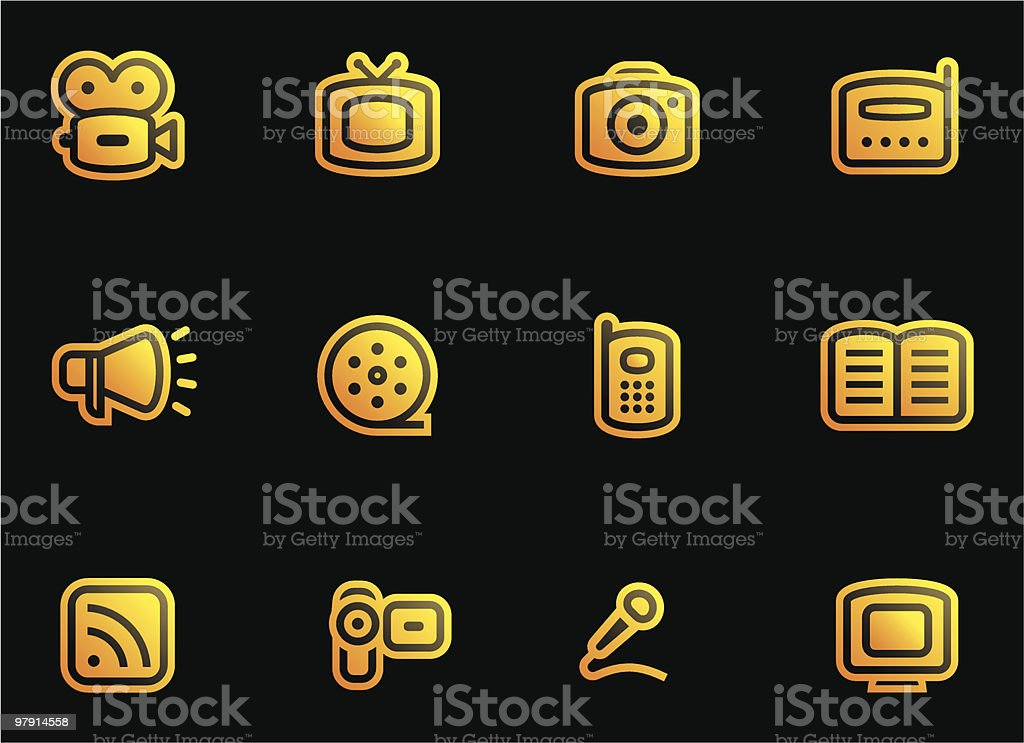 Media - Vector Icons Set royalty-free media vector icons set stock vector art & more images of book