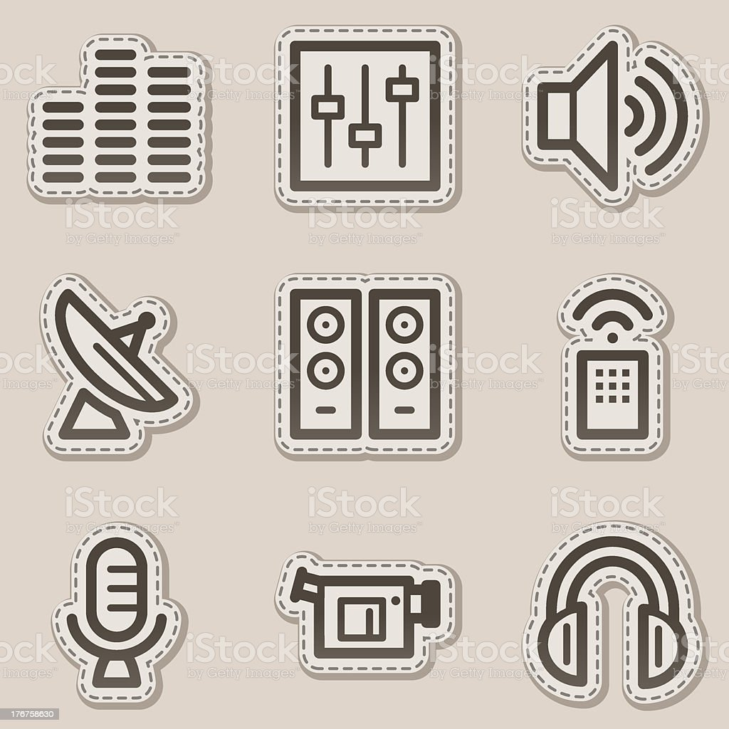 Media web icons, brown contour sticker series royalty-free media web icons brown contour sticker series stock vector art & more images of antenna - aerial