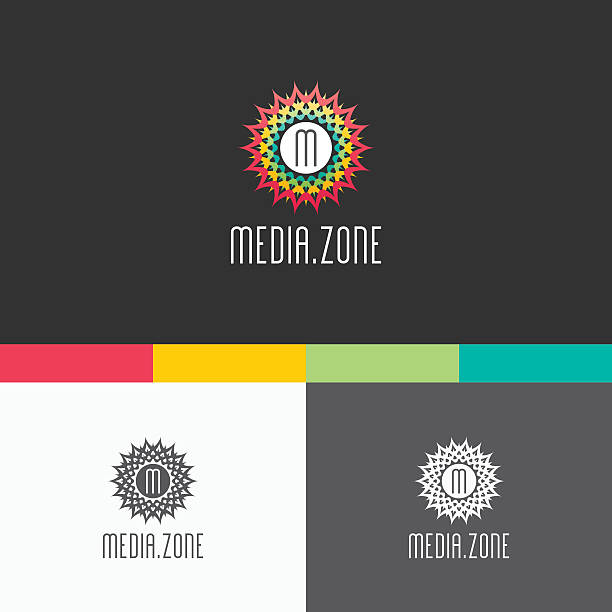 stockillustraties, clipart, cartoons en iconen met media zone symbol template. vector elements. brand icon design illustration - call center