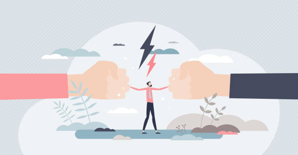 Mediation as conflict compromise and solution management tiny person concept vector art illustration