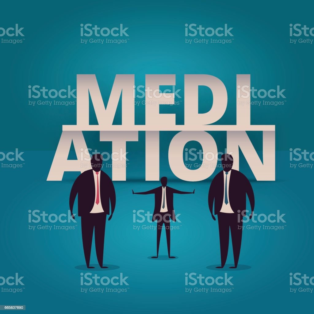 Mediation concept. Mediator assists disputing parties. Resolving conflict or dispute resolution illustartion. Mediate businessman arbitrates or separates parties. vector art illustration