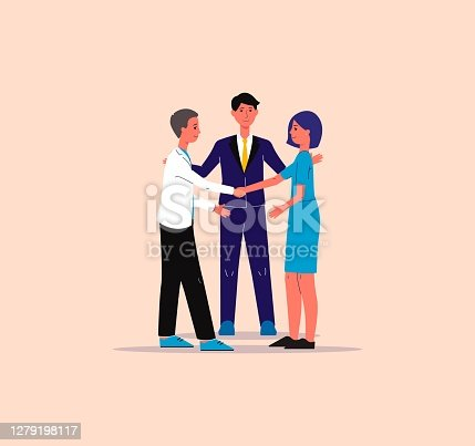 Mediator finds compromise in conflict situation, flat vector illustration .