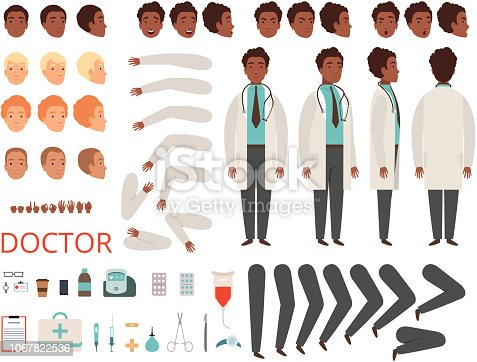 Medic animation. Doctor characters hospital medicine staff body parts and clothes vector creation kit. Doctor man constructor generator illustration