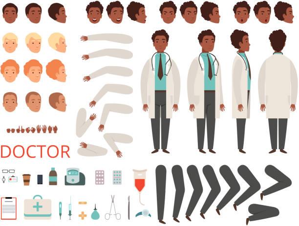 ilustrações, clipart, desenhos animados e ícones de animação de médico. partes do corpo médico pessoal do personagens hospitalar medicina e kit de criação de vetores de roupas - landscape creation kit