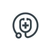 istock medic stethoscope concept logotype template design. Business logo icon shape. medic stethoscope simple logo illustration 1200712144