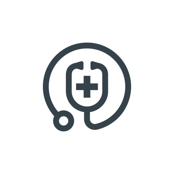 ilustrações, clipart, desenhos animados e ícones de médico estetoscópio conceito logotype modelo design. forma do ícone do logotipo do negócio. ilustração simples do logotipo do estetoscópio do médico - médico