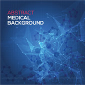 Medical abstract background. Abstract polygonal space low poly dark background