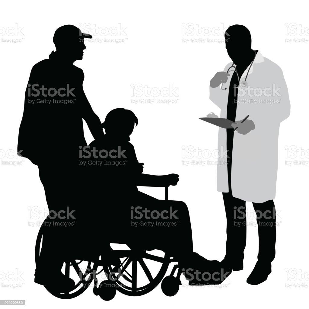 Medizinische Adfvice Rollstuhl gebunden – Vektorgrafik