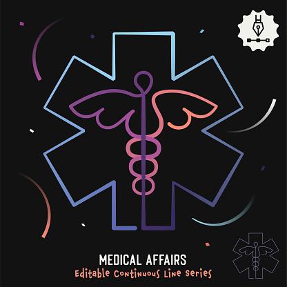Medical Affairs Editable Line Illustration